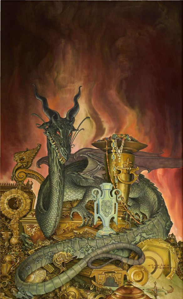 A dragon and its hoard like the one in Beowulf.