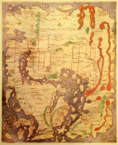 "An Anglo-Saxon world map known as the ""Cotton"" world map (c.1040). (Looks like I'm not the only one with a sketchy sense of geography.) Image found at http://en.wikipedia.org/wiki/Early_world_maps#mediaviewer/File:Anglo-Saxon_World_Map_Corrected.png."