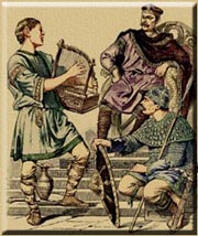 A scop, like those at Heorot in Beowulf, recites a story and plays a harp.