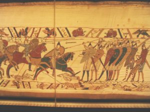 A section of the Bayeux Tapestry showing Anglo-Saxon warfare