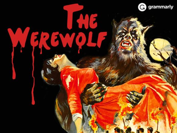 A vintage style horror poster showing a werewolf holding a woman in a red dress