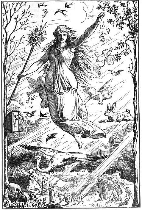 The goddess of spring, Ostara, shown with her symbols and beams of light.
