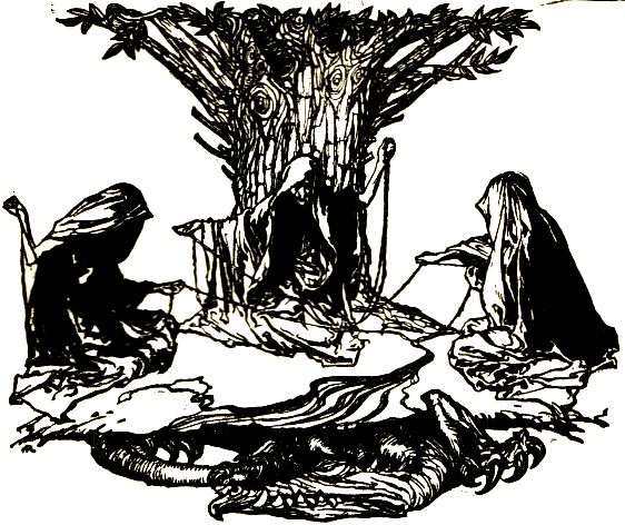 The three norns weaving fate at the foot of Yggdrasil, steeped in Norse myth, but cognate with Old English and Anglo-Saxon traditions.