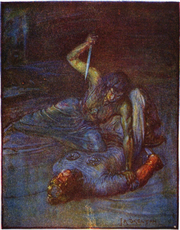Grendel's mother menaces a pinned Beowulf with a knife.