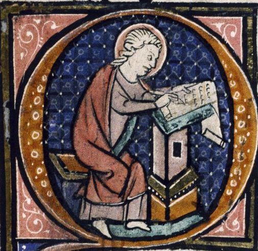 St. John writing up a chronicle with the news and opinion of the day.