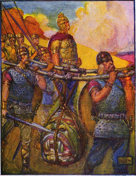 Beowulf and his band of Geats carrying Grendel's head.