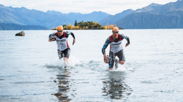 Ben de Rivaz and Tom Burton train for the Breca Wanaka SwimRun, inspired by Beowulf.