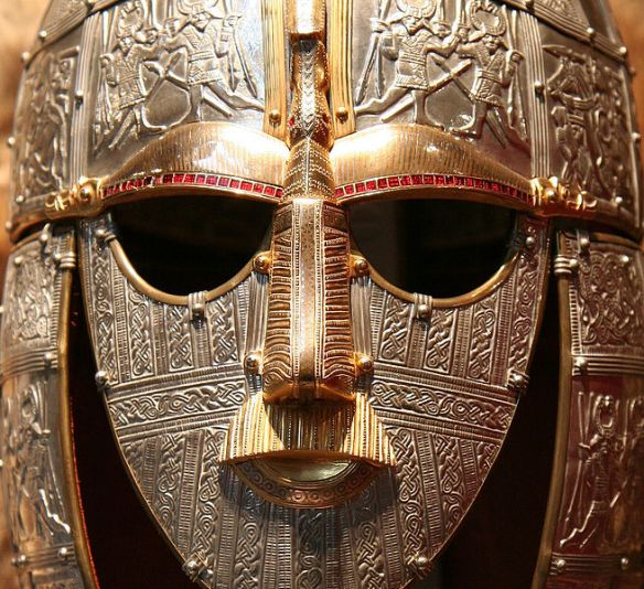 An Anglo-Saxon helmet with face mask of the style associated with Beowulf.