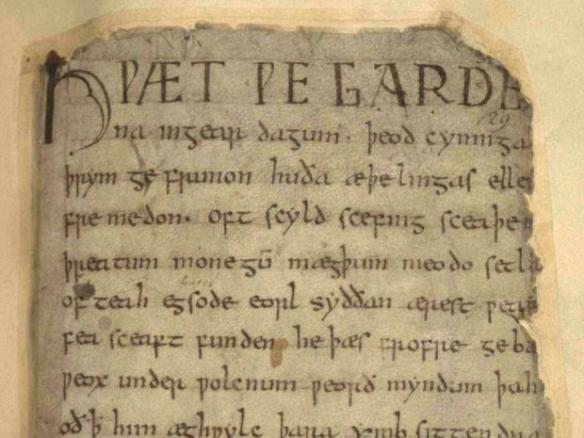 This is the first page from the Beowulf manuscript, in Old English.