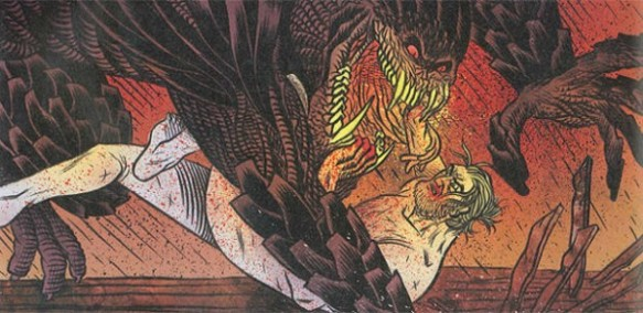 Beowulf fights Grendel as depicted by Santiago Garcia and David Rubin's graphic novel adaptation of Beowulf.