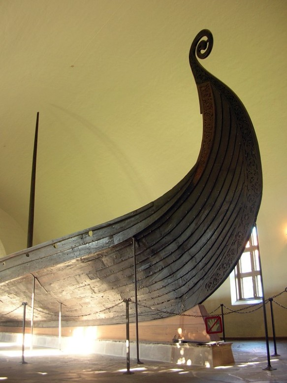 A Viking ship on display in a museum in Oslo.