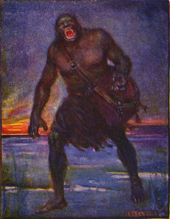 Grendel terrifyingly looms with his death bag, screaming at Beowulf.