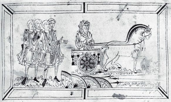 A drawing of an Anglo-Saxon chariot, complete with horses.