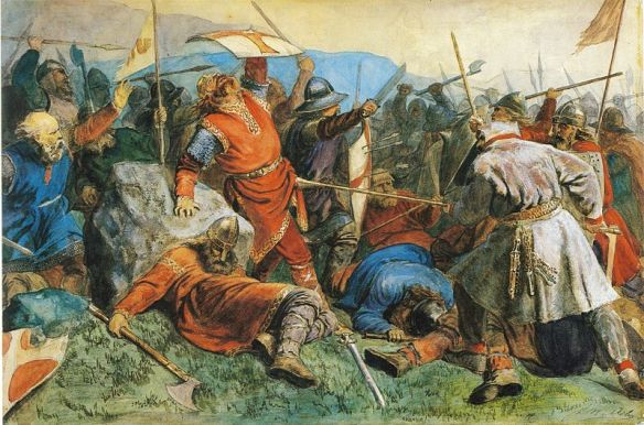 A Viking Age battle involving, no doubt, a king like Beowulf and a feud.