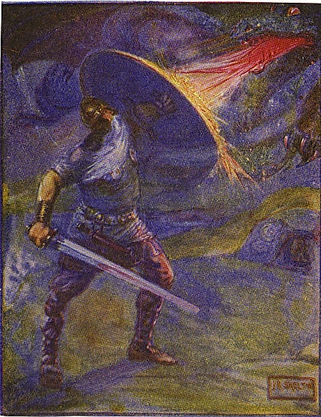 Beowulf is protected from dragon fire by his shield while treasure awaits.