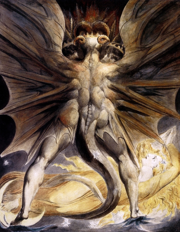 William Blake's Great Red Dragon looming over a woman like the dragon looming over Geatland in Beowulf.