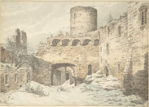 A ruined medieval castle that Karl Julius von Leypold drew and that is featured on A Blogger's Beowulf for its 2018 intro post.