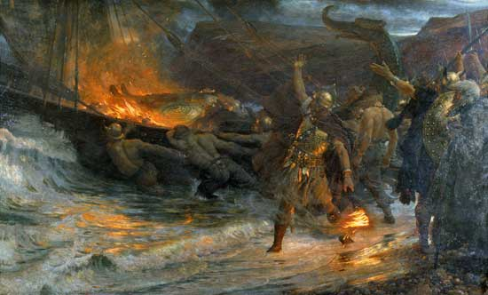 Scyld Scefing gets a Viking funeral in Beowulf's beginning.