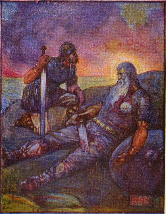 Beowulf and Wiglaf, each a hero, after the fierce fight against the dragon.