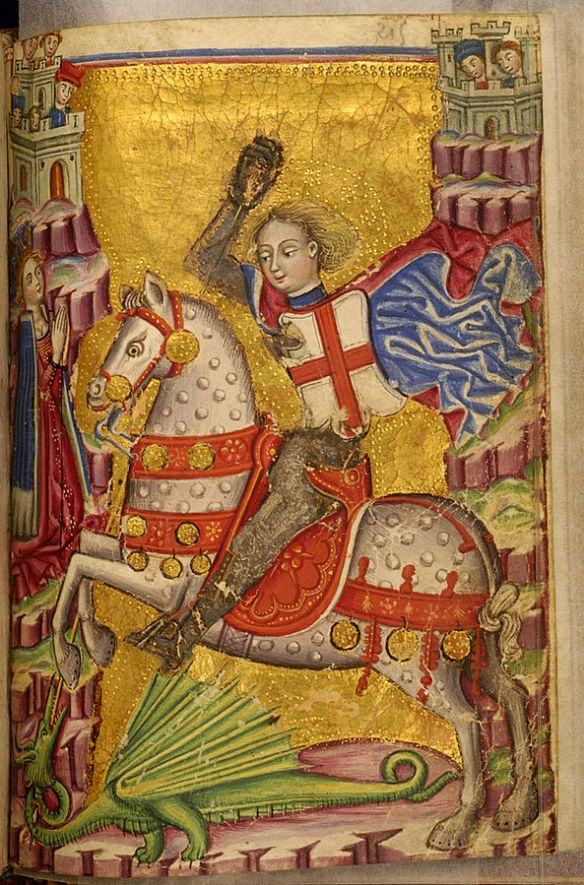 St. George slaying a dragon solo unlike mister might Beowulf.