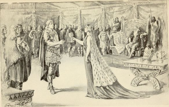Wealhtheow, queen of Hrothgar, offers Beowulf a drink from the cup before he fights Grendel.