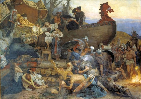A ship decked with treasure and set up as a Viking funeral pyre, like the one for Beowulf.