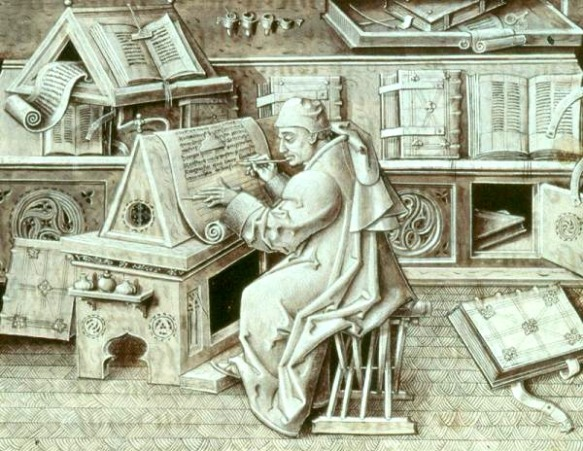 A scribe at a medieval writing desk perhaps copying out Beowulf the poem itself.