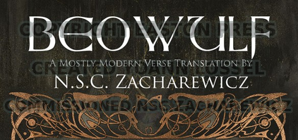 The top part of the cover for NSC Zacharewicz's translation of Beowulf. Image copyright Easton Press, created by Yoann Lossel.